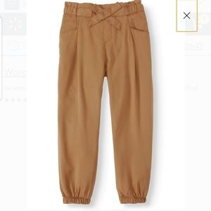 Girls paper bag waist elastic cute khaki pants